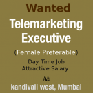 Need freshers for a telemarketing job at Kandivali