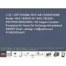 1.0 1.5TR TOSHIBA SPLIT AIR CONDITIONER Model RAS-18SKDX-IN +RAS-18S2AX-INSYSTEM DESIGNING 102 A