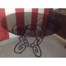 Wrought Iron Glass Top Round Table With 4 Chairs