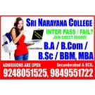INTER Discontinued INTER FAIL JOIN DEGREE BA B.COM BSC BBM - Hyderabad