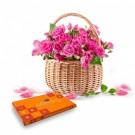 Pink Rose Basket With Celebration