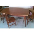 Teak wood Glass Top Dinning table For sale