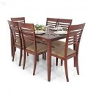 Wooden 6 Sitter Dining Table Chair Set For Sale