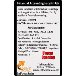 Openings For Financial Accounting Faculty  Very Urgent
