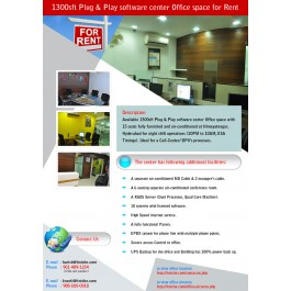 1300sft Plug & Play software center office space for Rent