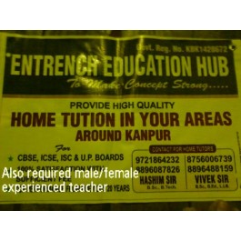 HOME TUTION IN YOUR AREAS AROUND KANPUR