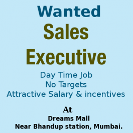 Good Opportunity Required Sales Executive at Bhandup Dreams Mall