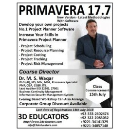 PRIMAVERA 17.7 course offerd by 3D Educators